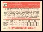 1952 Topps Reprints #277  Early Wynn  Back Thumbnail