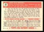 1952 Topps Reprints #92  Dale Mitchell  Back Thumbnail