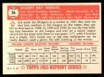 1952 Topps Reprints #36  Gil Hodges  Back Thumbnail