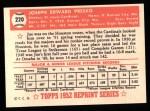 1952 Topps Reprints #220  Joe Presko  Back Thumbnail