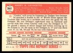 1952 Topps Reprints #365  Cookie Lavagetto  Back Thumbnail