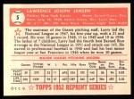 1952 Topps Reprints #5  Larry Jansen  Back Thumbnail
