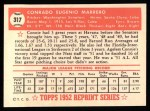 1952 Topps Reprints #317  Conrado Marrero  Back Thumbnail