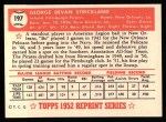 1952 Topps Reprints #197  George Strickland  Back Thumbnail