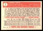 1952 Topps Reprints #1  Andy Pafko  Back Thumbnail