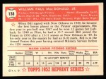 1952 Topps Reprints #138  Bill MacDonald  Back Thumbnail
