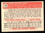 1952 Topps Reprints #278  Allie Clark  Back Thumbnail