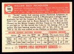 1952 Topps Reprints #185  Bill Nicholson  Back Thumbnail