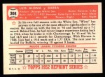 1952 Topps Reprints #308  Luis Aloma  Back Thumbnail