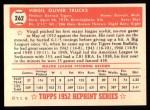 1952 Topps Reprints #262  Virgil Trucks  Back Thumbnail