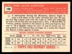 1952 Topps Reprints #148  Johnny Klippstein  Back Thumbnail