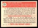 1952 Topps Reprints #374  John Benton  Back Thumbnail
