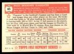 1952 Topps Reprints #65  Enos Slaughter  Back Thumbnail