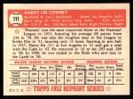 1952 Topps Reprints #111  Peanuts Lowrey  Back Thumbnail