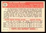 1952 Topps Reprints #122  Jackie Jensen  Back Thumbnail