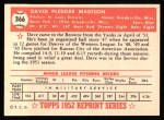 1952 Topps Reprints #366  Dave Madison  Back Thumbnail