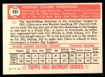 1952 Topps Reprints #251  Chico Carrasquel  Back Thumbnail