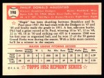 1952 Topps Reprints #198  Phil Haugstad  Back Thumbnail