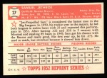 1952 Topps Reprints #27  Sam Jethroe  Back Thumbnail