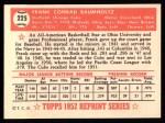 1952 Topps Reprints #225  Frank Baumholtz  Back Thumbnail