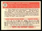 1952 Topps Reprints #332  Tony Bartirome  Back Thumbnail