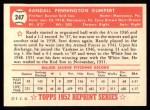 1952 Topps Reprints #247  Randy Gumpert  Back Thumbnail
