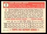 1952 Topps Reprints #17  Jim Hegan  Back Thumbnail