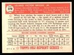 1952 Topps Reprints #270  Lou Brissie  Back Thumbnail