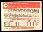 1952 Topps Reprints #142  Harry Perkowski  Back Thumbnail