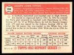 1952 Topps Reprints #134  Joe Tipton  Back Thumbnail