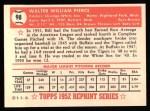 1952 Topps Reprints #98  Billy Pierce  Back Thumbnail
