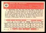 1952 Topps Reprints #407  Eddie Mathews  Back Thumbnail