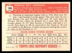 1952 Topps Reprints #190  Don Johnson  Back Thumbnail