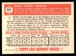 1952 Topps Reprints #355  Bobby Morgan  Back Thumbnail