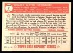 1952 Topps Reprints #7  Wayne Terwilliger  Back Thumbnail