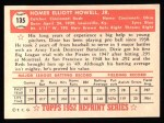 1952 Topps Reprints #135  Dixie Howell  Back Thumbnail
