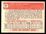 1952 Topps Reprints #347  Joe Adcock  Back Thumbnail