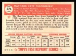 1952 Topps Reprints #376  Faye Throneberry  Back Thumbnail