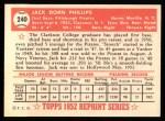 1952 Topps Reprints #240  Jack Phillips  Back Thumbnail