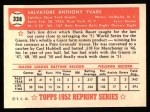 1952 Topps Reprints #338  Sal Yvars  Back Thumbnail