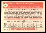 1952 Topps Reprints #46  Gordon Goldsberry  Back Thumbnail