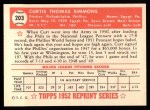 1952 Topps Reprints #203  Curt Simmons  Back Thumbnail