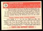 1952 Topps Reprints #154  Joe Muir  Back Thumbnail