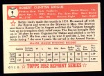 1952 Topps Reprints #9  Robert Hogue  Back Thumbnail
