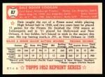 1952 Topps Reprints #87  Dale Coogan  Back Thumbnail