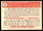 1952 Topps Reprints #184  Bob Ramazzotti  Back Thumbnail