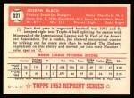 1952 Topps Reprints #321  Joe Black  Back Thumbnail
