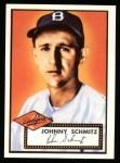 1952 Topps Reprints #136  Johnny Schmitz  Front Thumbnail
