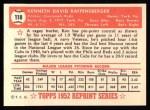 1952 Topps Reprints #118  Ken Raffensberger  Back Thumbnail