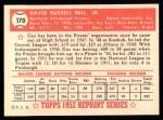 1952 Topps Reprints #170  Gus Bell  Back Thumbnail